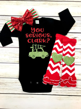 You serious, clark? baby girl funny Christmas vacation outfit shirt toddler Christmas baby first christmas