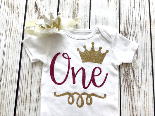 princess baby girl first birthday one year old crown onesie outfit