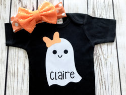 baby girl halloween outfit cute ghost with bow custom name onesie