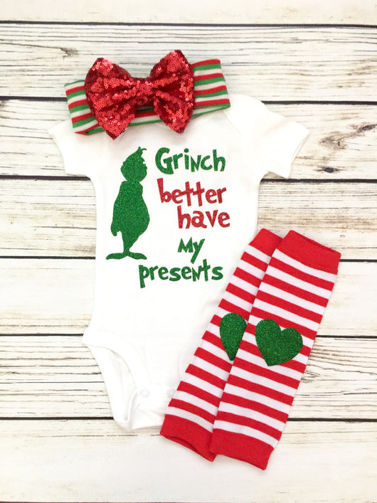 funny grinch baby onesie christmas outfit