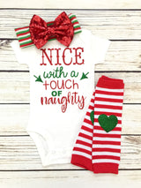 funny cute christmas baby onesie outfit nice naughty