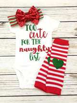 cute naughty list baby girl christmas funny onesie outfit
