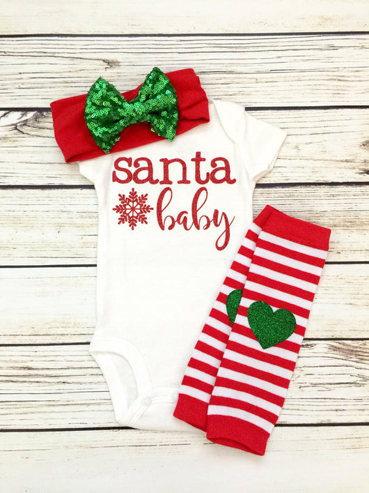 Santa Baby Christmas Baby Girl Outfit Happy Tuesday Boutique