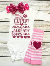Who Needs Cupid Baby Girl Valentines Outfit