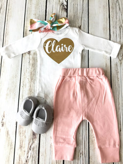 Gold Foil Custom Name Heart Onesie