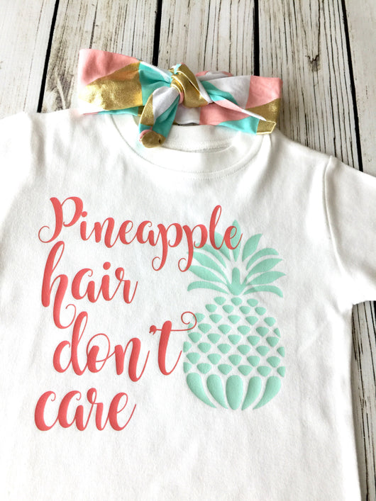 Pineapple Hair Don't Care Coral & Mint Onesie or Tee