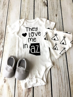 They Love Me In... Baby Boy Onesie