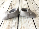 Little Feet Leather Baby Fringe Moccs in Gray