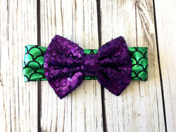 Magical Mermaid Sequin Bow head wrap for infants and toddlers