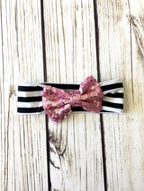 Pink Sequin & BW Stripes Headband