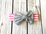Pink and Silver Sequin Bow Head wrap for infants and toddlers