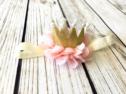 Gold & Coral Princess Crown Headband