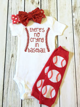 theres not crying in baseball funny cute baseball onesie outfit for baby girl