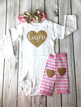 Pink and gold glitter Name heart onesie baby girl first birthday outfit