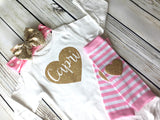 Custom Name Heart Baby Girl Outfit in Pink & Gold