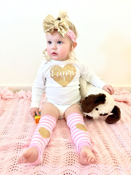 Baby girl Name heart pink and gold birthday outfit onesie