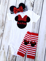 Minnie Mouse Disney baby outfit for first Disney trip