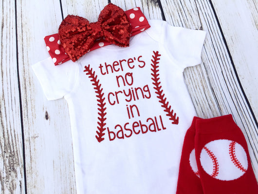 Cute baby baseball onesie outfit no crying in baseball