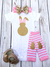 Bunny Bow Pink & Gold