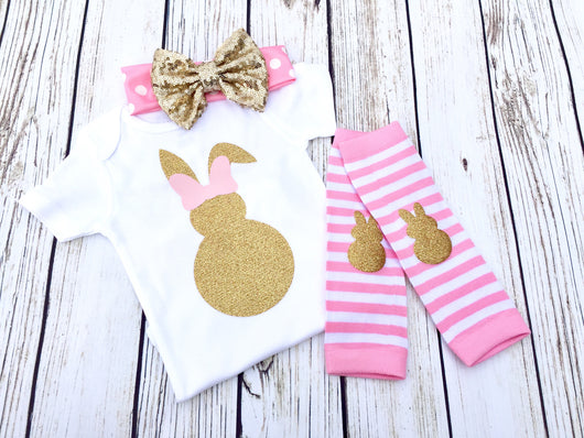 Easter bunny baby girl onesie outfit pink and gold set
