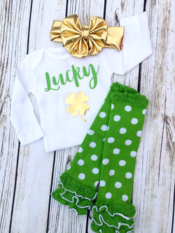 Baby lucky st Patrick's day gold clover onesie cute baby outfit leg warmers