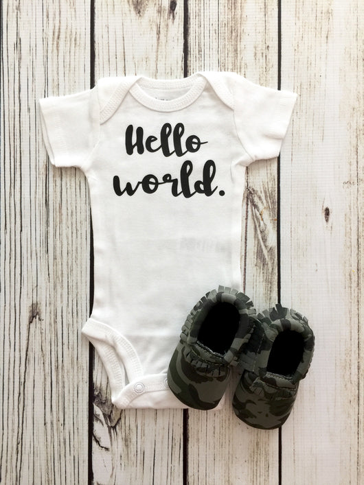 hello world baby boy newborn onesie