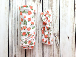 Floral newborn baby swaddle matching headband