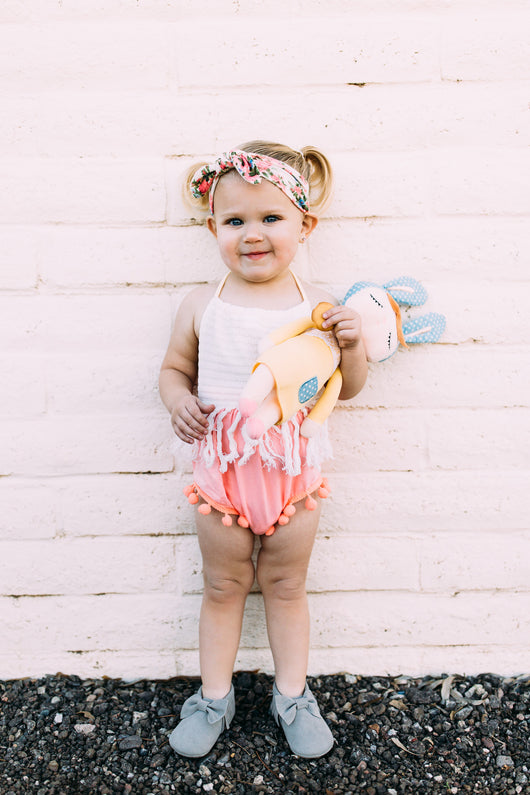 baby girl pom pom romper birthday outfit pictures