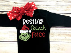 resting grinch face cute baby girl Christmas onesie outfit