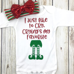 cute baby girl Christmas onesie elf movie baby girl Christmas outfit