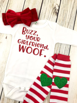 buzz your girlfriend woof baby girl home alone baby first christmas onesie