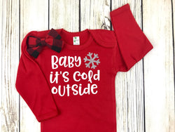 baby its cold outside baby girl first christmas buffalo plaid outfit onesie