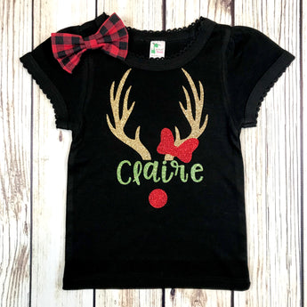 girls reindeer shirt Rudolph baby girl first christmas toddler Christmas name shirt