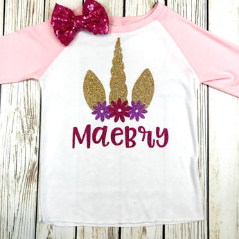 girls baby unicorn baseball tee pink and white unicorn birthday party shirt
