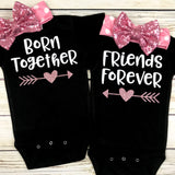 baby girl girl twins matching baby twin outfit onesie and headband bow