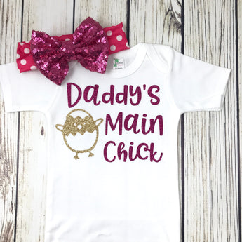 baby girl daddy main chick cute funny baby girl first easter outfit onesie