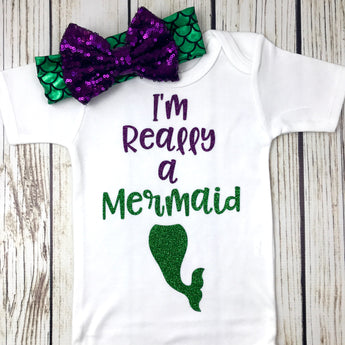 really a mermaid baby girl mermaid outfit onesie first birthday mermaid