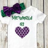 mermaid at heart baby girl mermaid outfit onesie birthday first