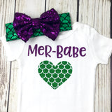 Mer-babe Mermaid baby girl onesie outfit birthday mermaid outfit