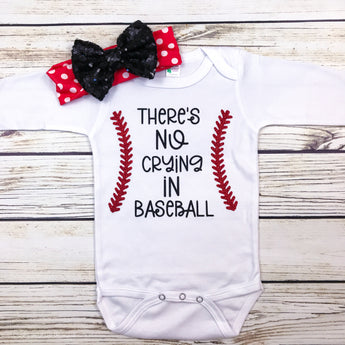 there's no crying in baseball baby girl onesie first baseball season baby shower
