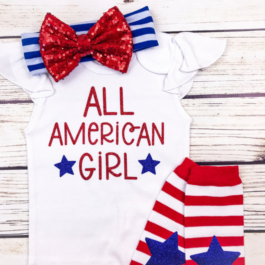 baby girl first 4th of july all american girl