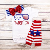 Merica baby girl first 4th of july outfit funny onesie