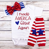 funny trump MAGA baby shower baby girl gift first 4th of july patriotic onesie i made america great again