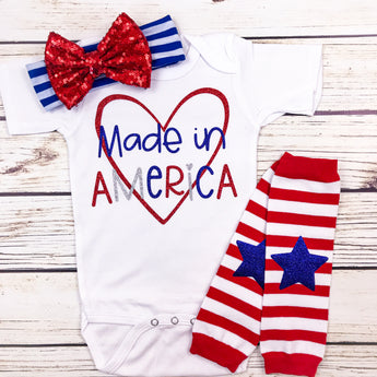 made in america baby girl onesie first 4th of july baby shower summer baby