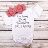 social distancing funny baby onesie bodysuit baby girl shower quarantine