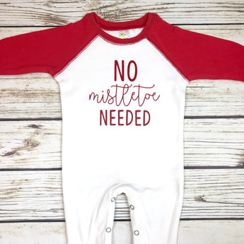 baby boy christmas no mistletoe needed first christmas romper