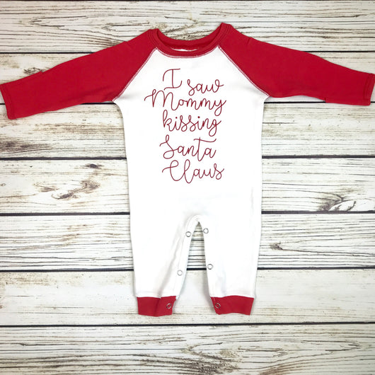 i saw mommy kissing santa claus baby boy christmas romper outfit first christmas