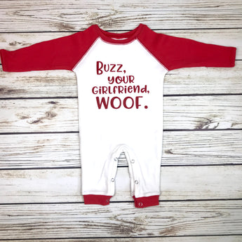 buzz your girlfriend woof baby boy christmas romper first christmas outfit funny home alone baby