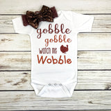 gobble gobble watch me wobble funny baby girl first thanksgiving onesie outfit headband bow