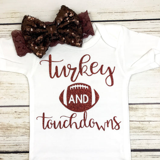 turkey and touchdowns baby girl first thanksgiving onesie outfit